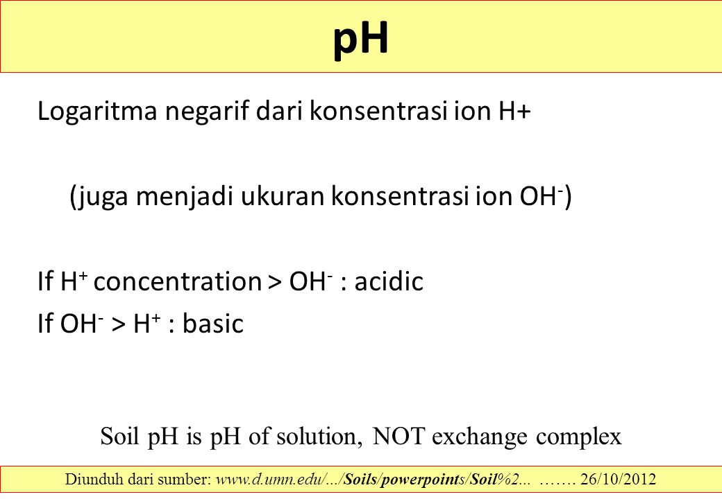 Soil pH is pH of solution, NOT exchange complex