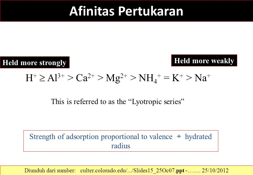 Strength of adsorption proportional to valence ÷ hydrated radius