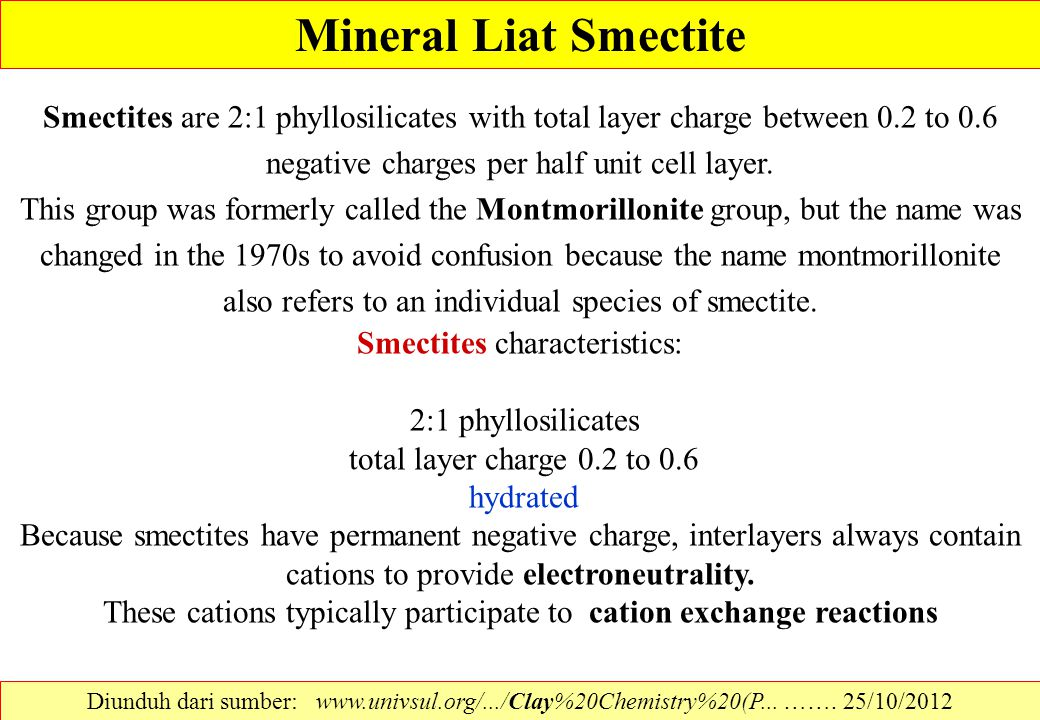Mineral Liat Smectite Smectites are 2:1 phyllosilicates with total layer charge between 0.2 to 0.6 negative charges per half unit cell layer.