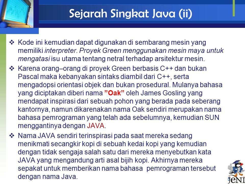 Sejarah Singkat Java (ii)