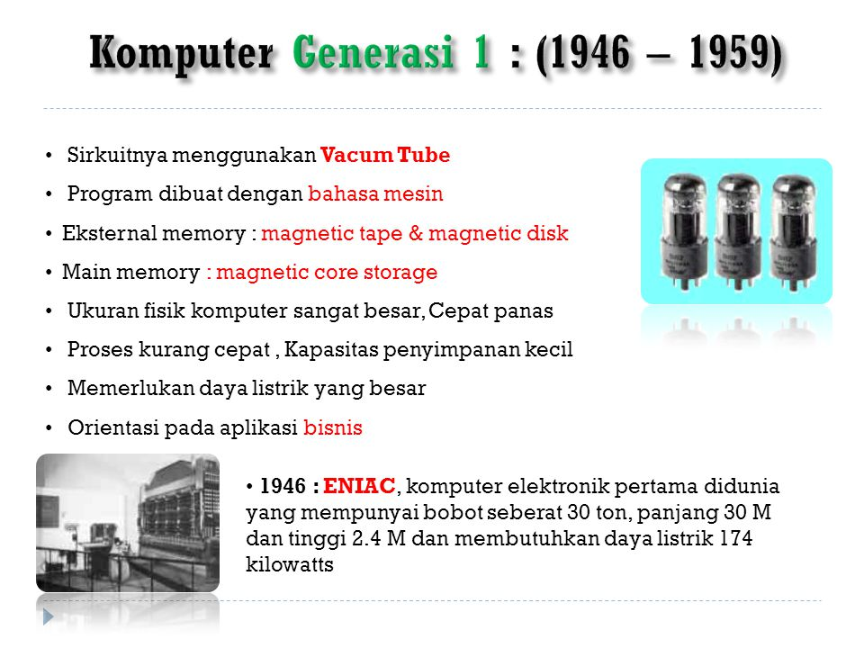 Komputer Generasi 1 : (1946 – 1959)
