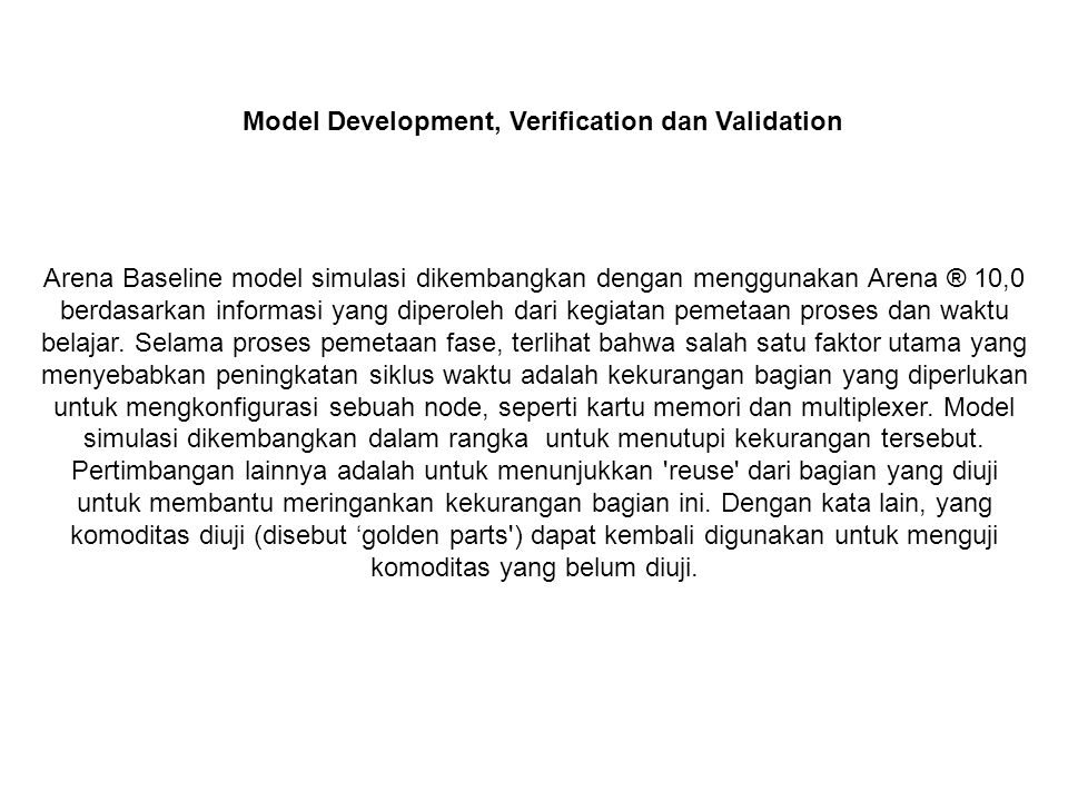 Model Development, Verification dan Validation