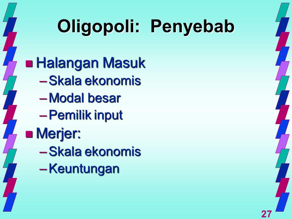 Oligopoli: Penyebab Halangan Masuk Merjer: Skala ekonomis Modal besar
