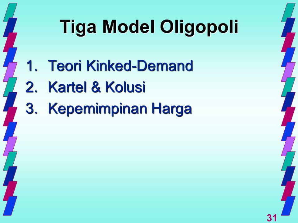 Tiga Model Oligopoli 1. Teori Kinked-Demand 2. Kartel & Kolusi