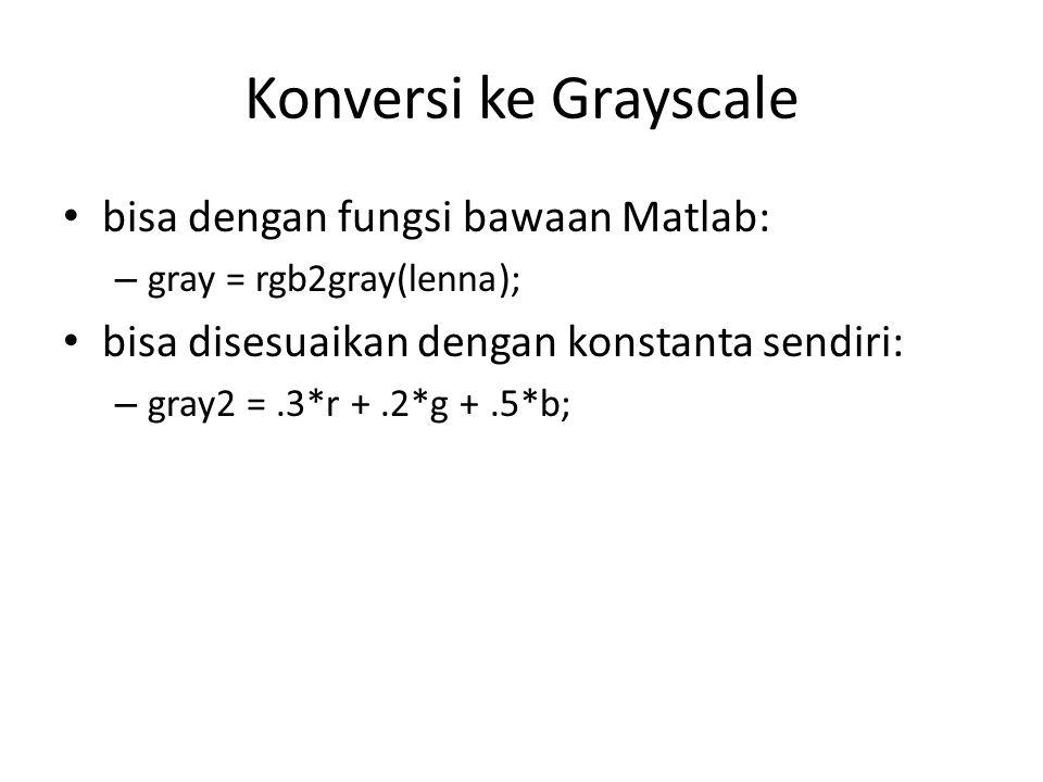 Konversi ke Grayscale bisa dengan fungsi bawaan Matlab: