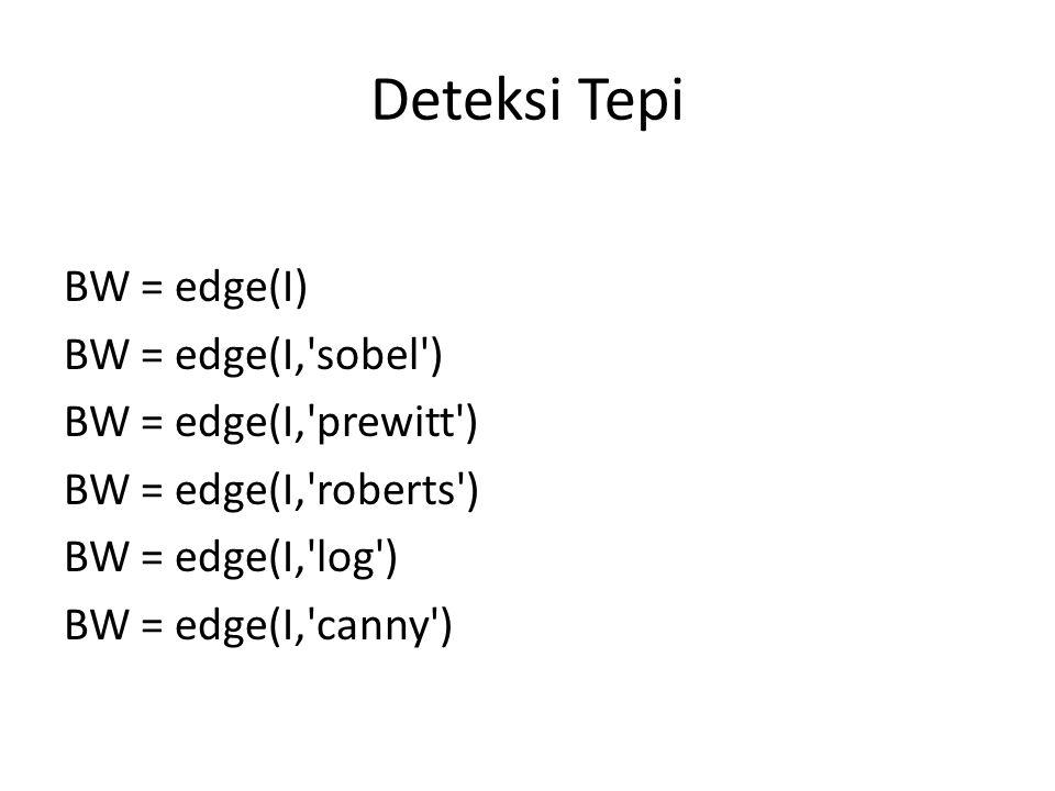 Deteksi Tepi BW = edge(I) BW = edge(I, sobel ) BW = edge(I, prewitt )