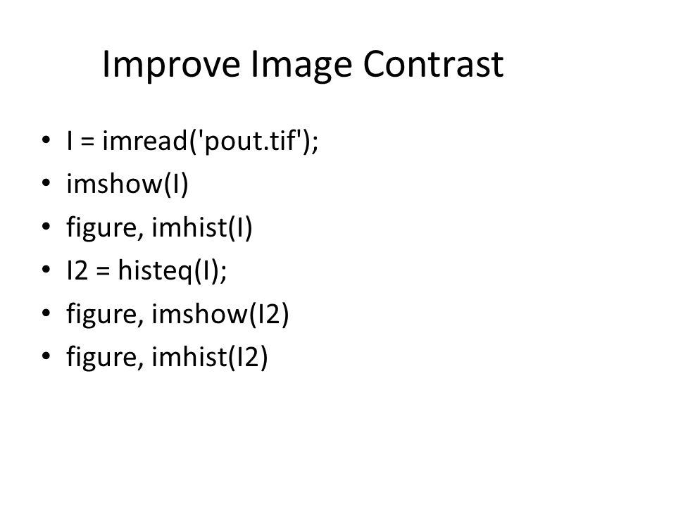 Improve Image Contrast