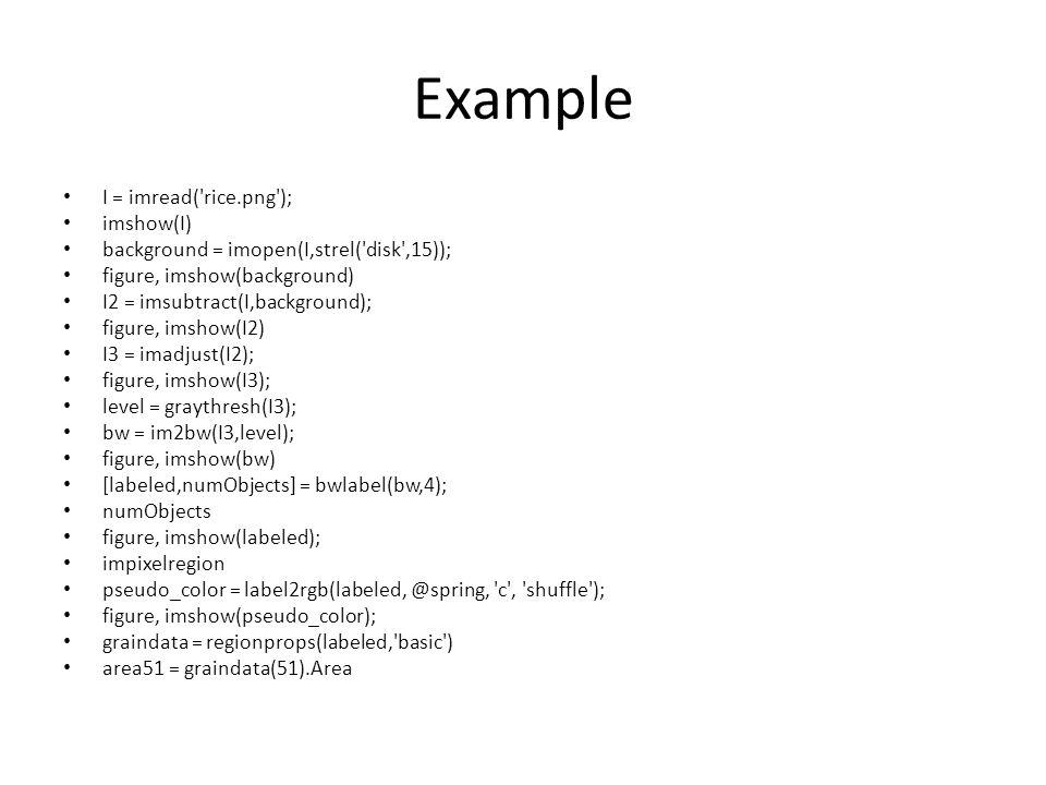Example I = imread( rice.png ); imshow(I)