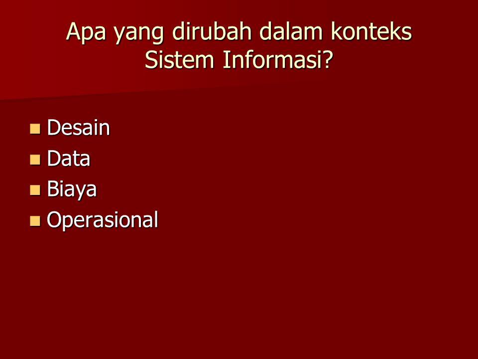 Apa yang dirubah dalam konteks Sistem Informasi