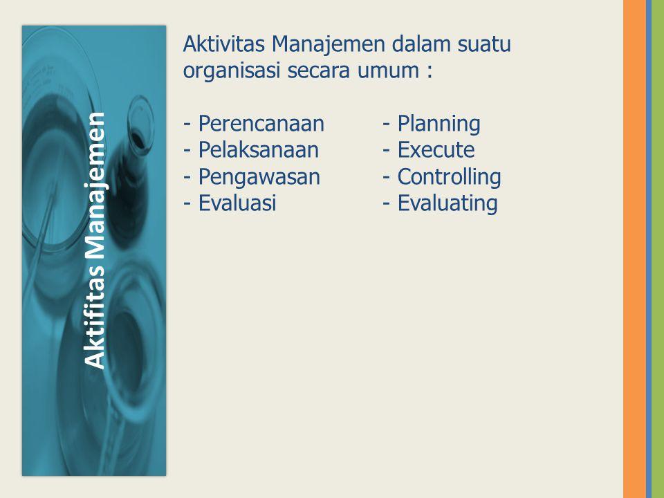 Aktivitas Manajemen dalam suatu organisasi secara umum :