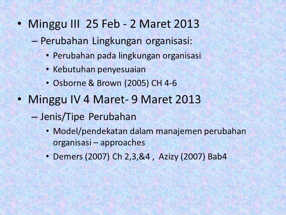 Minggu III 25 Feb - 2 Maret 2013 Minggu IV 4 Maret- 9 Maret 2013