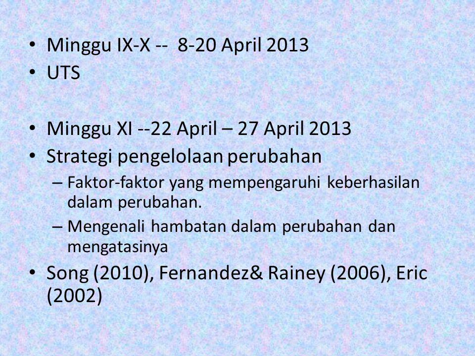 Minggu XI --22 April – 27 April 2013 Strategi pengelolaan perubahan