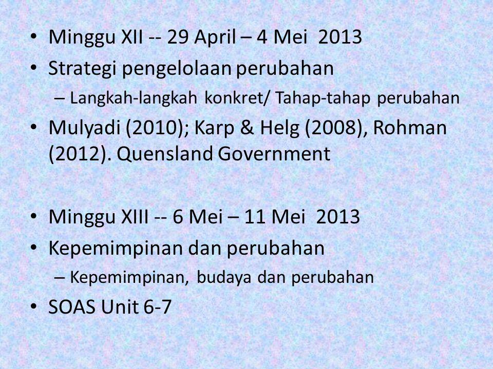 Minggu XII -- 29 April – 4 Mei 2013 Strategi pengelolaan perubahan