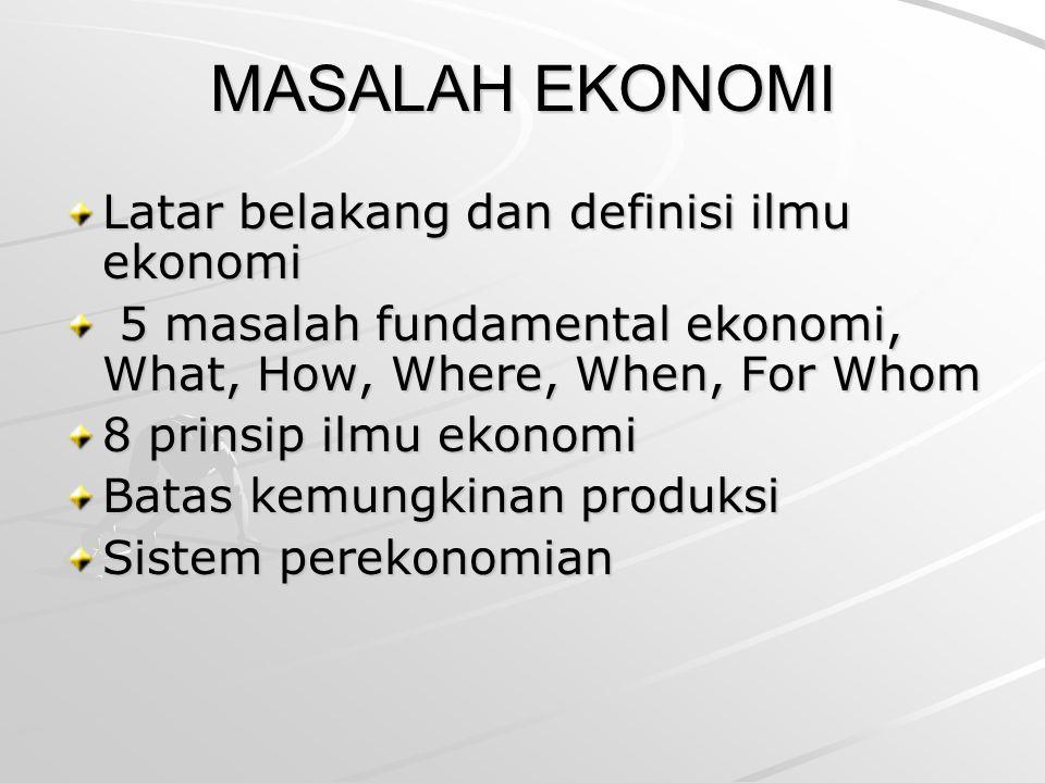MASALAH EKONOMI Latar belakang dan definisi ilmu ekonomi