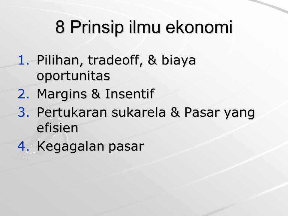 8 Prinsip ilmu ekonomi Pilihan, tradeoff, & biaya oportunitas