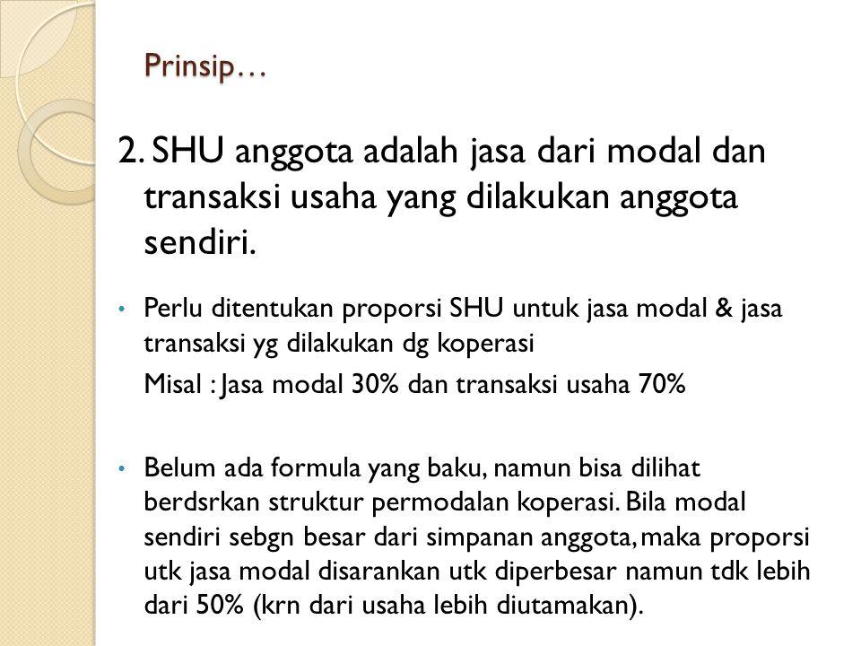 Prinsip… 2. SHU anggota adalah jasa dari modal dan transaksi usaha yang dilakukan anggota sendiri.