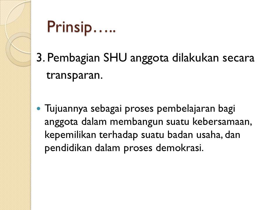 Prinsip….. 3. Pembagian SHU anggota dilakukan secara transparan.