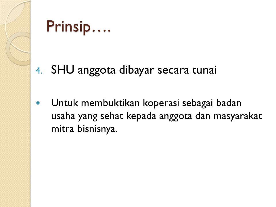 Prinsip…. SHU anggota dibayar secara tunai