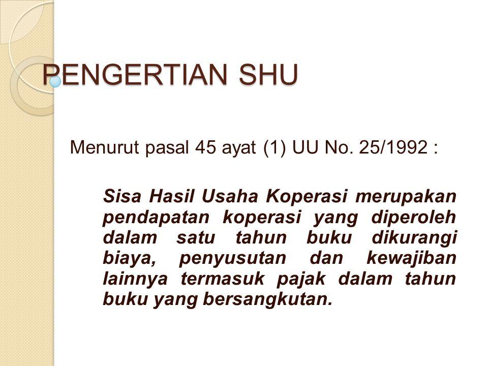 PENGERTIAN SHU Menurut pasal 45 ayat (1) UU No. 25/1992 :