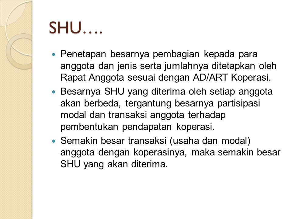 SHU…. Penetapan besarnya pembagian kepada para anggota dan jenis serta jumlahnya ditetapkan oleh Rapat Anggota sesuai dengan AD/ART Koperasi.