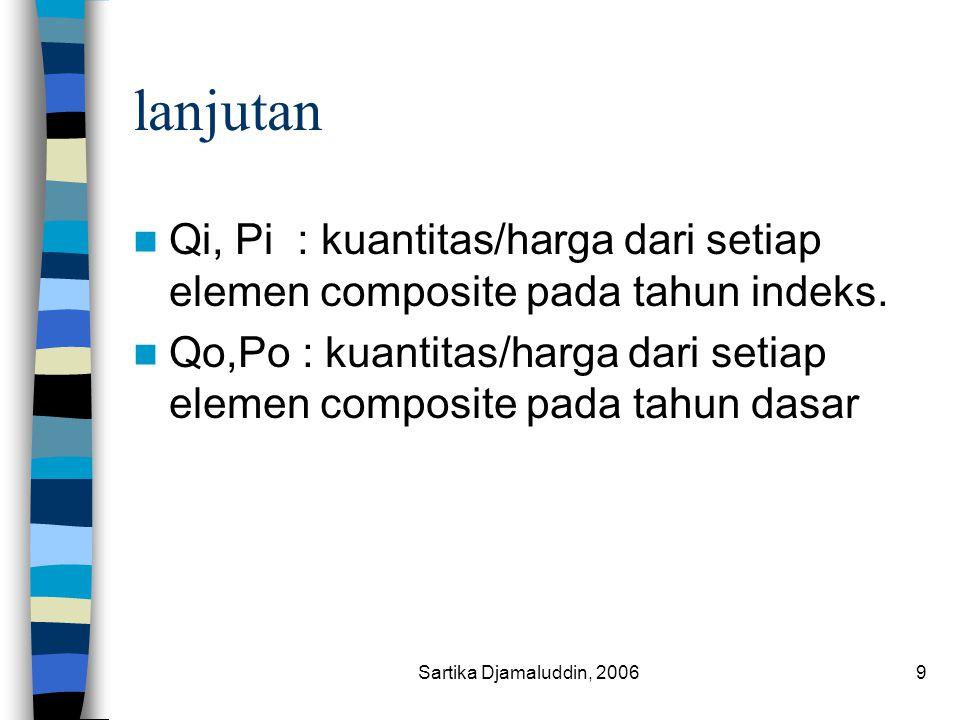 lanjutan Qi, Pi : kuantitas/harga dari setiap elemen composite pada tahun indeks.