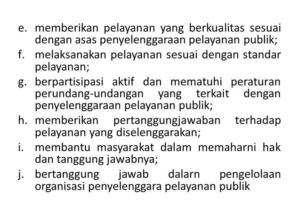 memberikan pelayanan yang berkualitas sesuai dengan asas penyelenggaraan pelayanan publik;