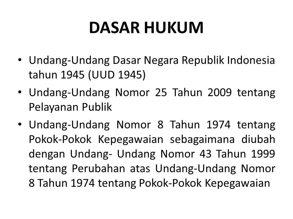 DASAR HUKUM Undang-Undang Dasar Negara Republik Indonesia tahun 1945 (UUD 1945) Undang-Undang Nomor 25 Tahun 2009 tentang Pelayanan Publik.