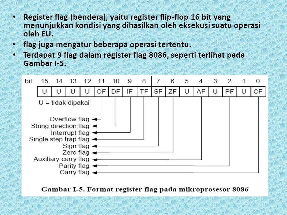 Register flag (bendera), yaitu register flip-flop 16 bit yang menunjukkan kondisi yang dihasilkan oleh eksekusi suatu operasi oleh EU.