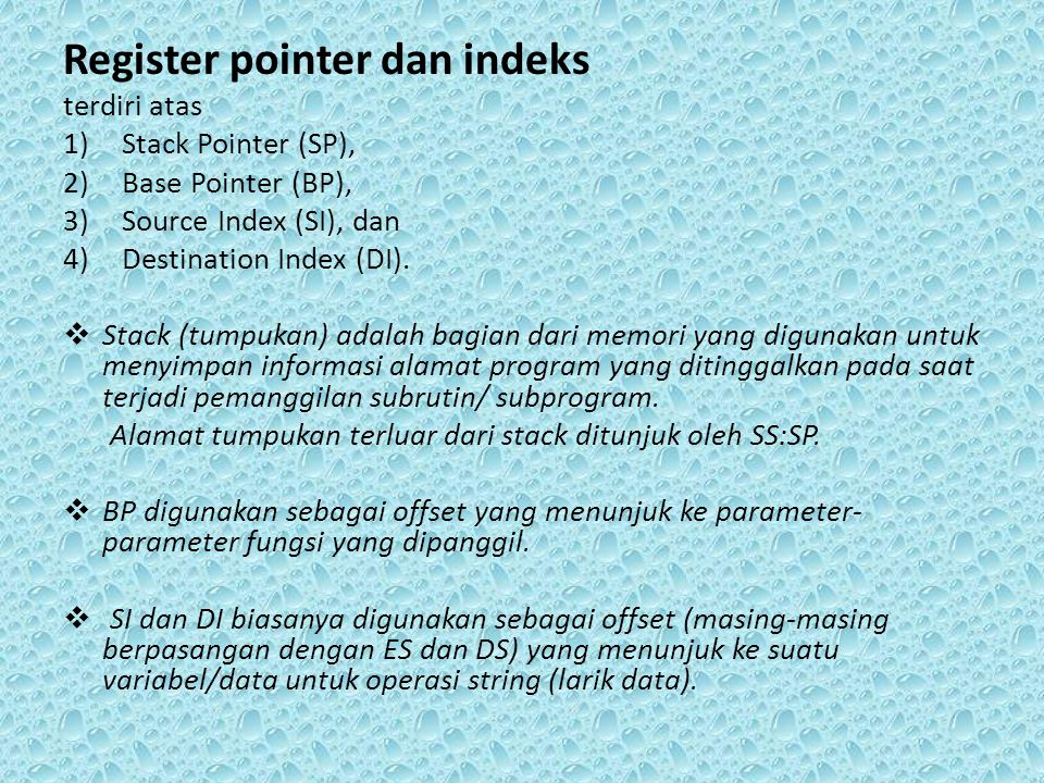 Register pointer dan indeks