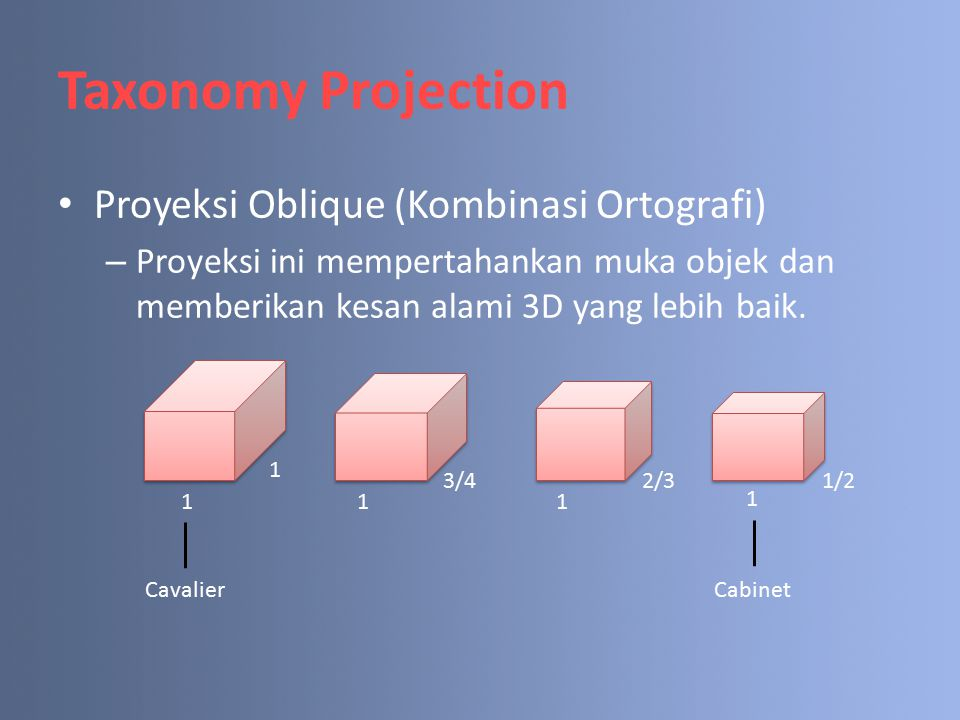 Taxonomy Projection Proyeksi Oblique (Kombinasi Ortografi)