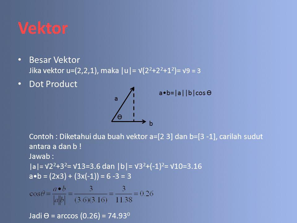 Vektor Besar Vektor Jika vektor u=(2,2,1), maka |u|= √(22+22+12)= √9 = 3.