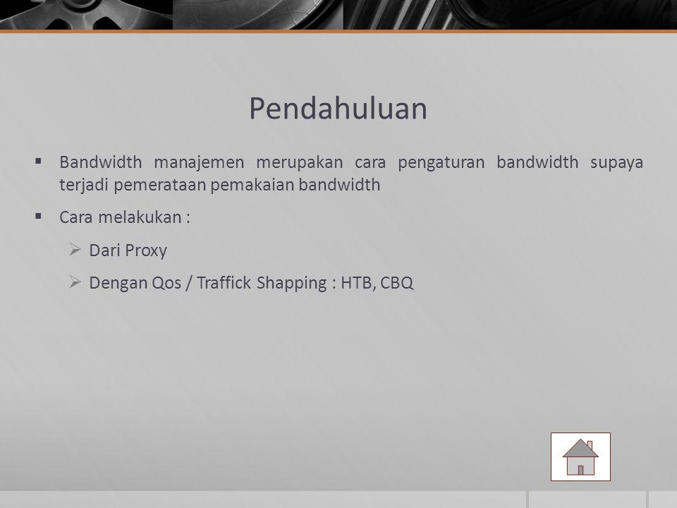 Pendahuluan Bandwidth manajemen merupakan cara pengaturan bandwidth supaya terjadi pemerataan pemakaian bandwidth.