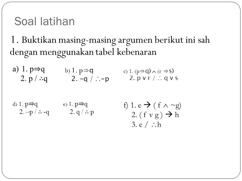 Soal latihan 1. Buktikan masing-masing argumen berikut ini sah dengan menggunakan tabel kebenaran.