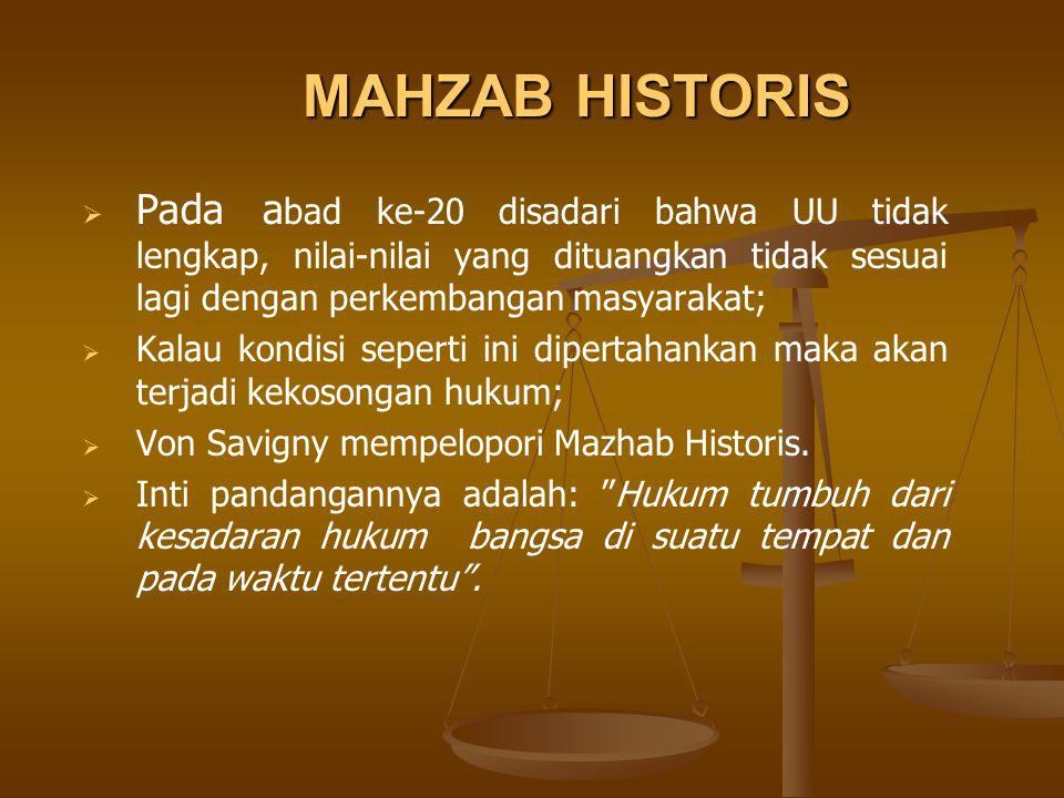 MAHZAB HISTORIS Pada abad ke-20 disadari bahwa UU tidak lengkap, nilai-nilai yang dituangkan tidak sesuai lagi dengan perkembangan masyarakat;