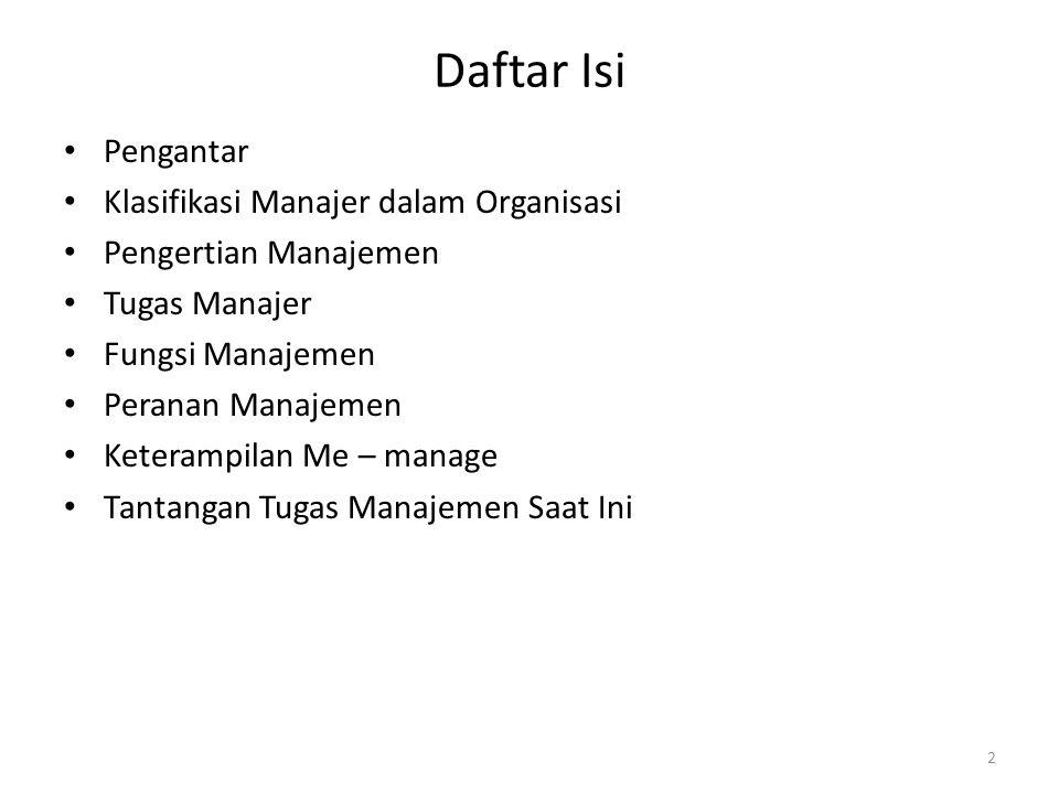 Daftar Isi Pengantar Klasifikasi Manajer dalam Organisasi