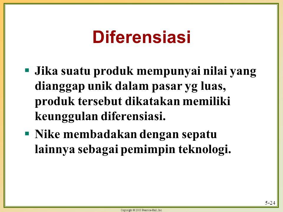 Diferensiasi Jika suatu produk mempunyai nilai yang dianggap unik dalam pasar yg luas, produk tersebut dikatakan memiliki keunggulan diferensiasi.