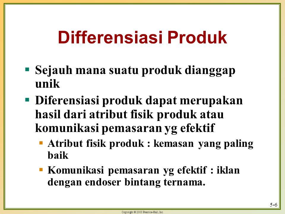 Differensiasi Produk Sejauh mana suatu produk dianggap unik