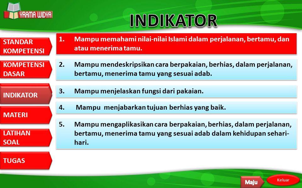 INDIKATOR 1. Mampu memahami nilai-nilai Islami dalam perjalanan, bertamu, dan atau menerima tamu.