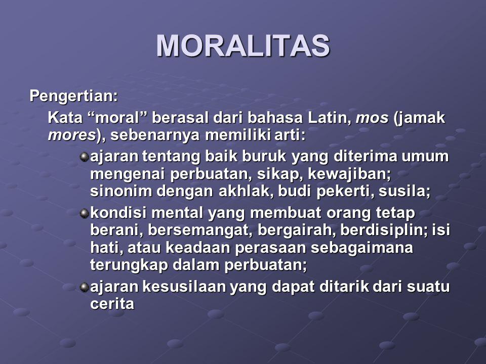 MORALITAS Pengertian: