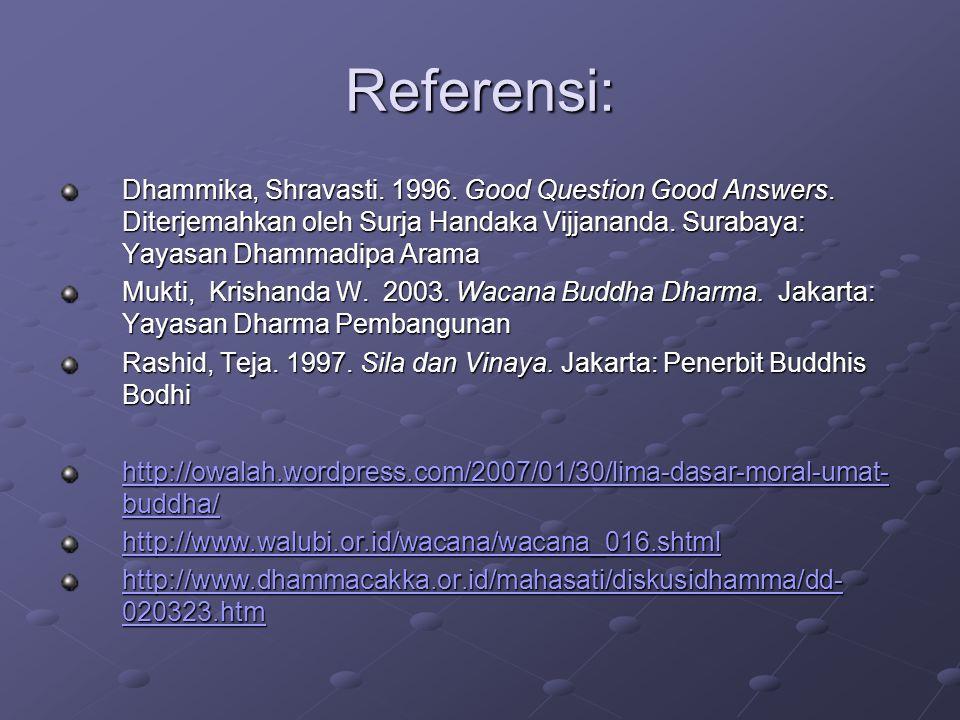 Referensi: Dhammika, Shravasti. 1996. Good Question Good Answers. Diterjemahkan oleh Surja Handaka Vijjananda. Surabaya: Yayasan Dhammadipa Arama.