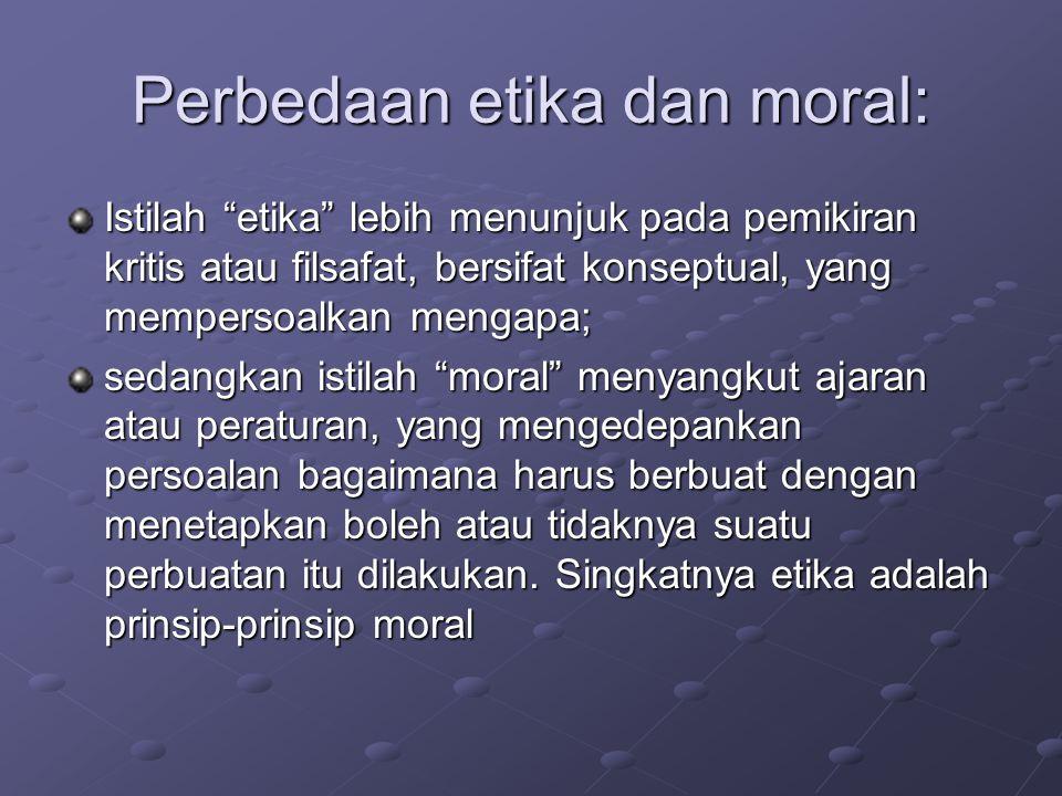 Perbedaan etika dan moral:
