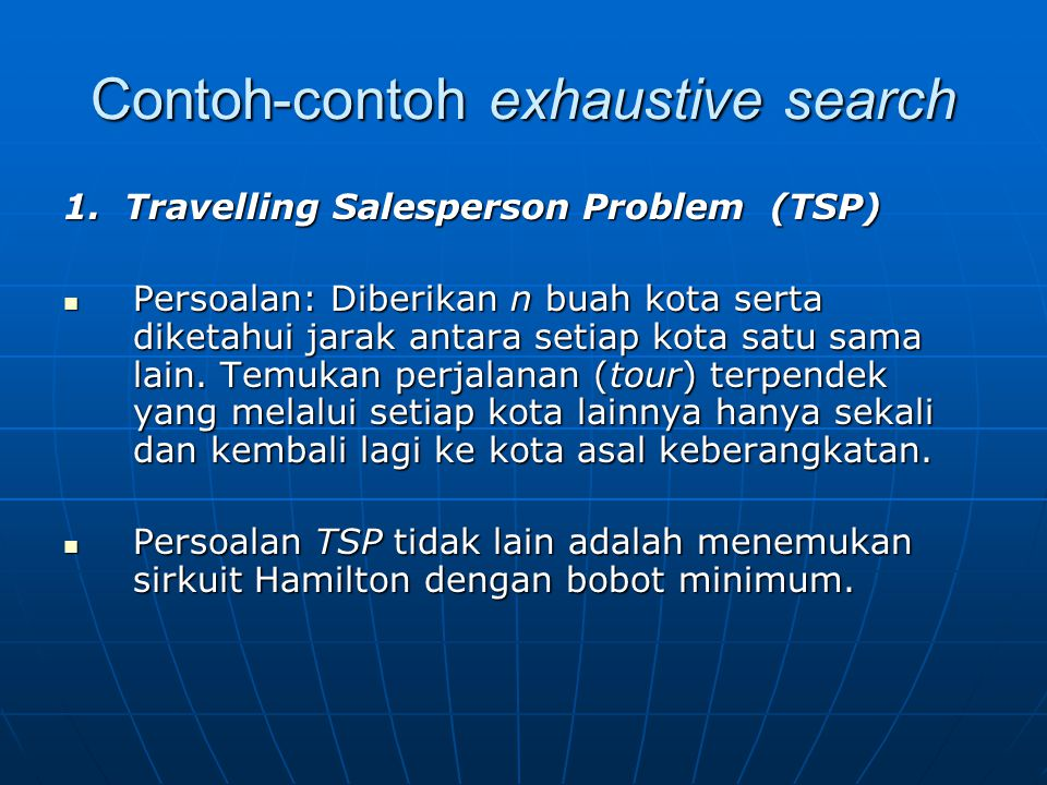 Contoh-contoh exhaustive search