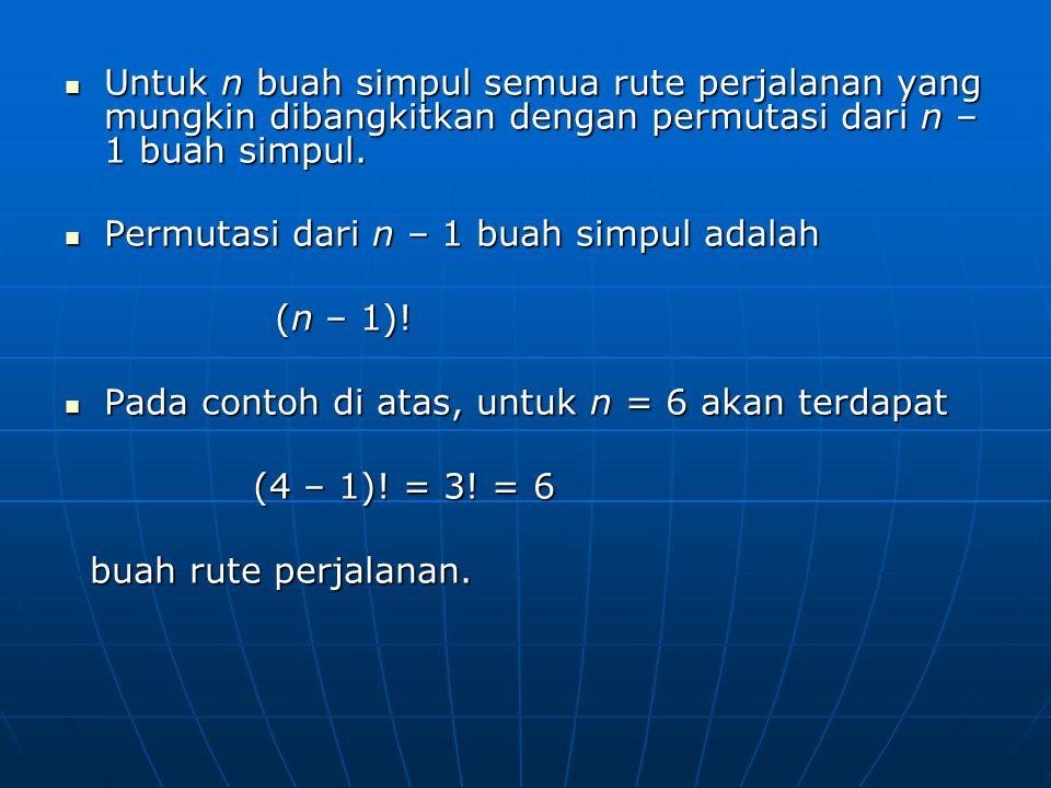 Untuk n buah simpul semua rute perjalanan yang mungkin dibangkitkan dengan permutasi dari n – 1 buah simpul.