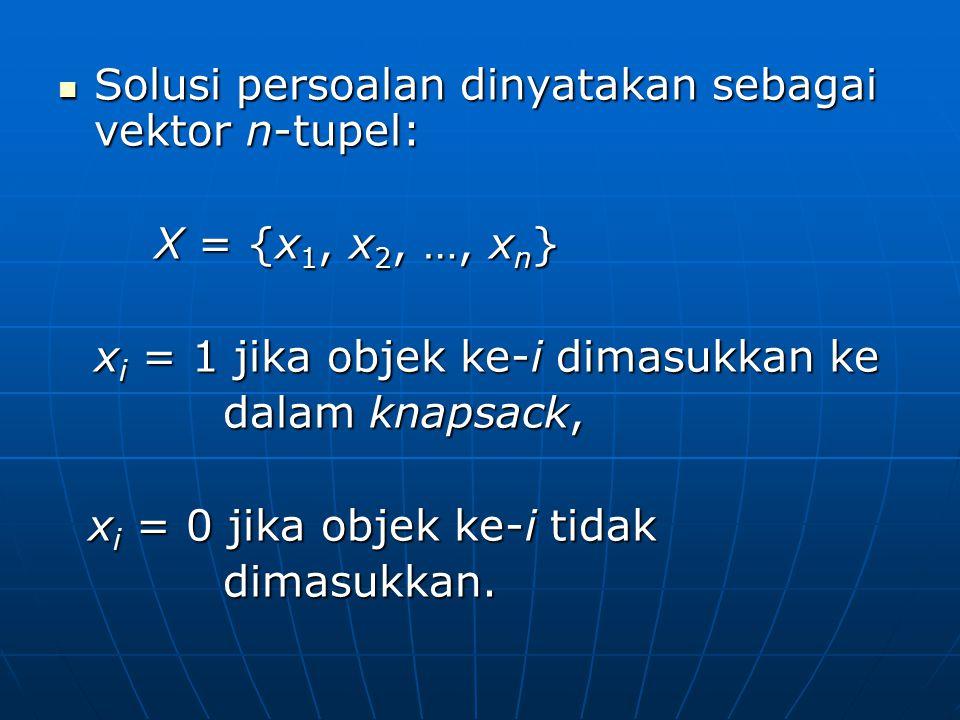 Solusi persoalan dinyatakan sebagai vektor n-tupel: