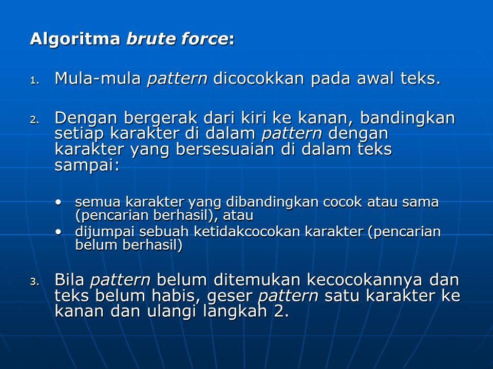 Algoritma brute force: Mula-mula pattern dicocokkan pada awal teks.