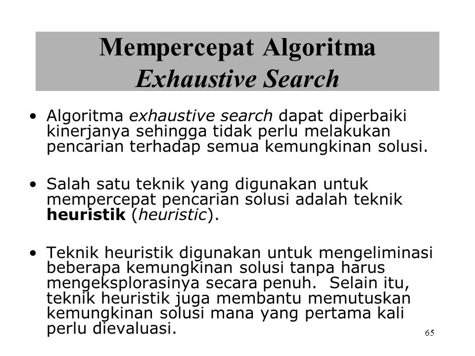 Mempercepat Algoritma Exhaustive Search