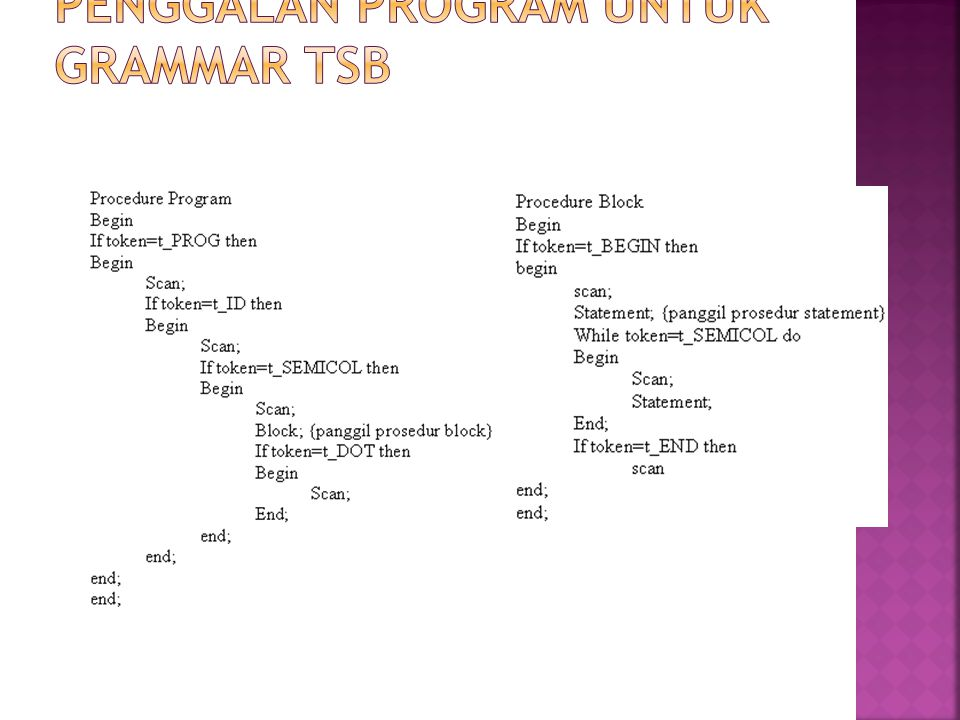 Penggalan program untuk grammar tsb