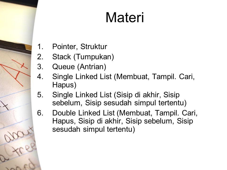 Materi Pointer, Struktur Stack (Tumpukan) Queue (Antrian)