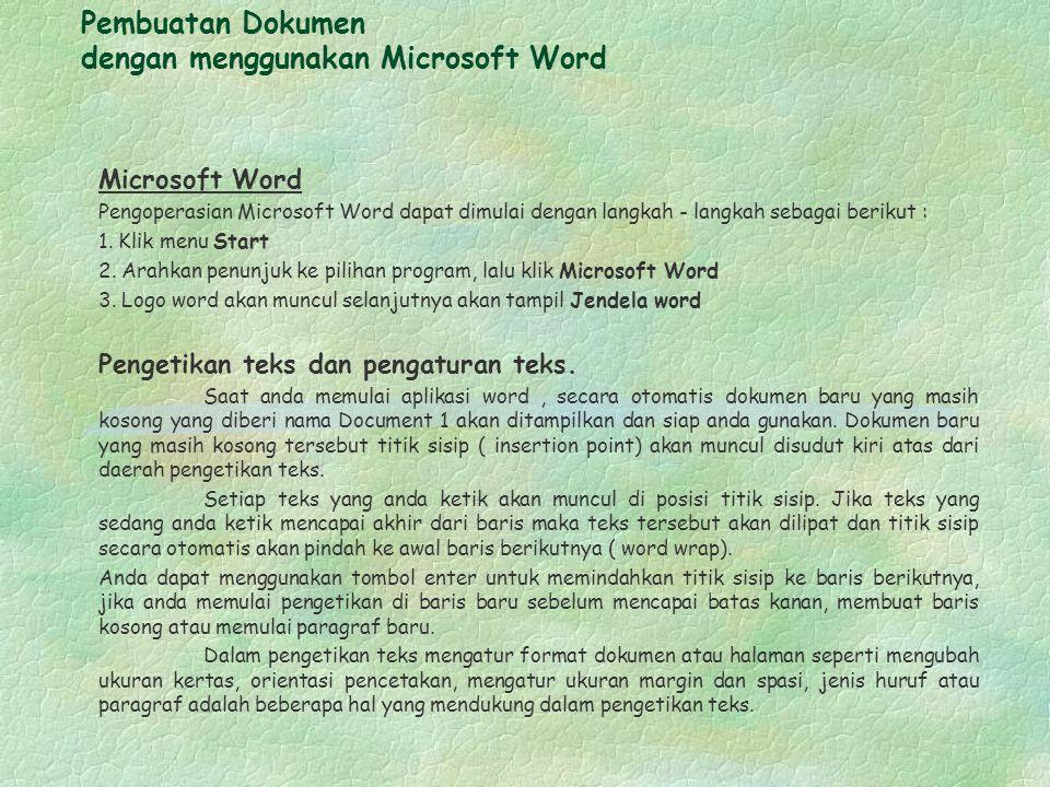 Pembuatan Dokumen dengan menggunakan Microsoft Word
