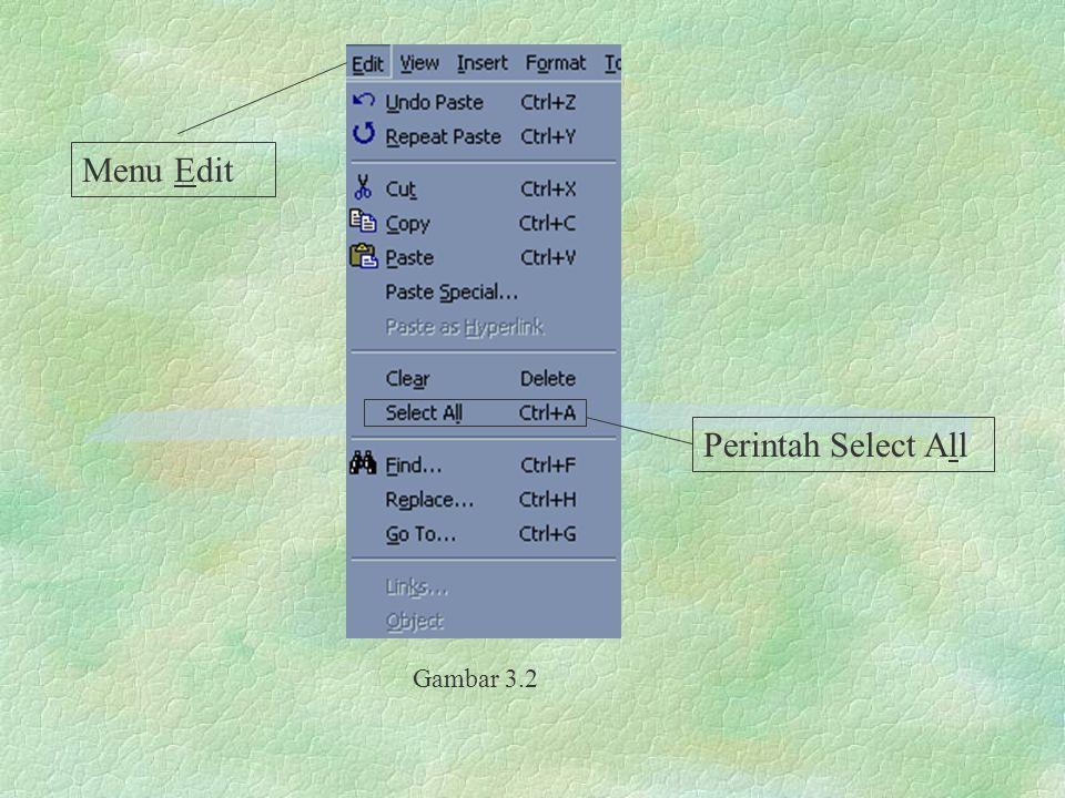 Menu Edit Perintah Select All Gambar 3.2